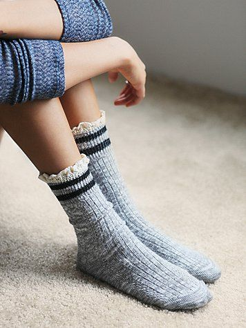 Rugby Ruffle Ankle Sock | Super soft heathered rugby style ankle socks with ruffled crochet trimming around the top opening.   *By Free People