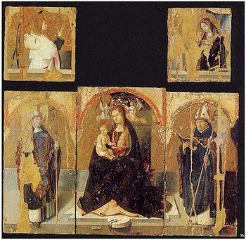 Polittico di San Gregorio  - Antonello da Messina,1473,tempera grassa su tavola,194×202 cm, Museo regionale, Messina