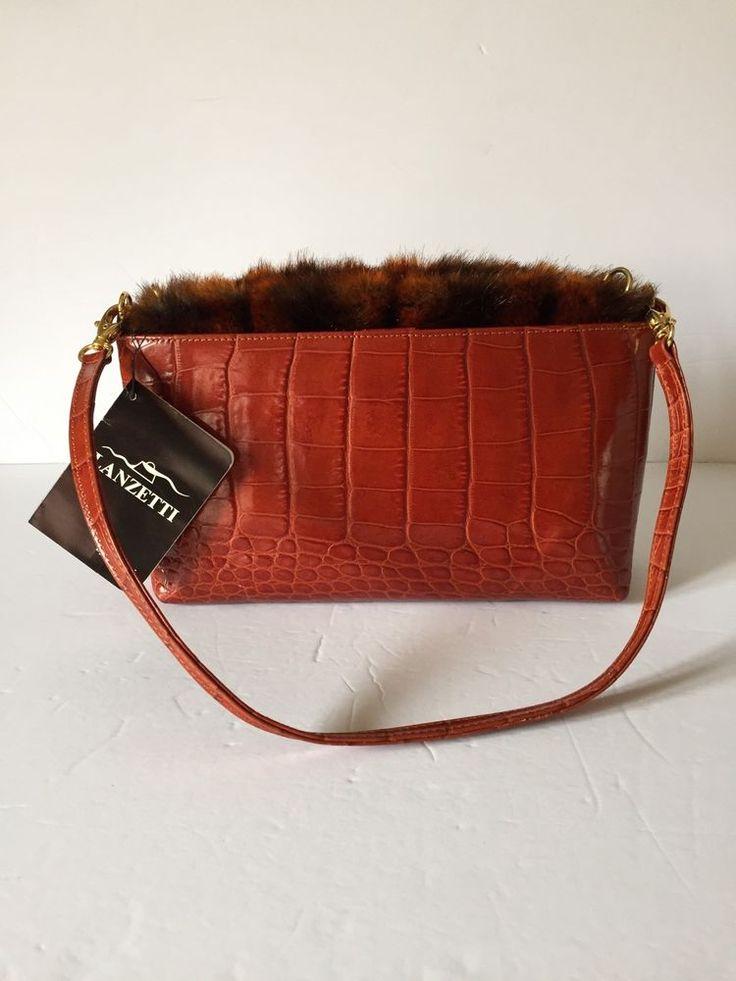 Leather Purse Croc Enbossed Italy Handbag Faux Fur 2 in 1 Bag Rust Red New  | eBay