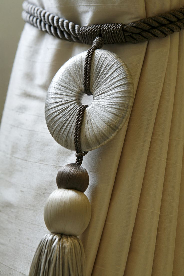 Grey and white silk threads with round accent Drape #Tassel..  Perfect for a Modern Window Treatment.  I love designing Beautiful #Draperies.  Orlando Interior Design.