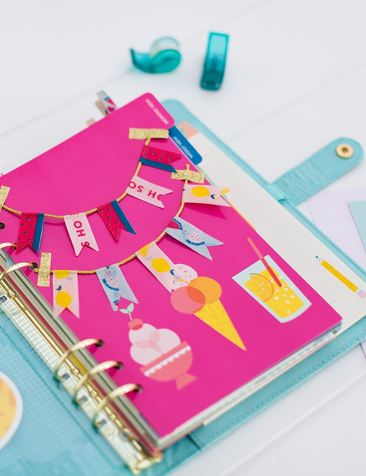 Decorate your Planner with this oh so cute DIY paper bunting using printed / washi tape