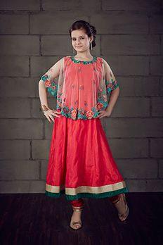 Silk kurta churidar in cape style embellished with resham and stone work from #Benzer #Benzerworld #Cape #CapeAnarkali #Kidswear #NewCollection
