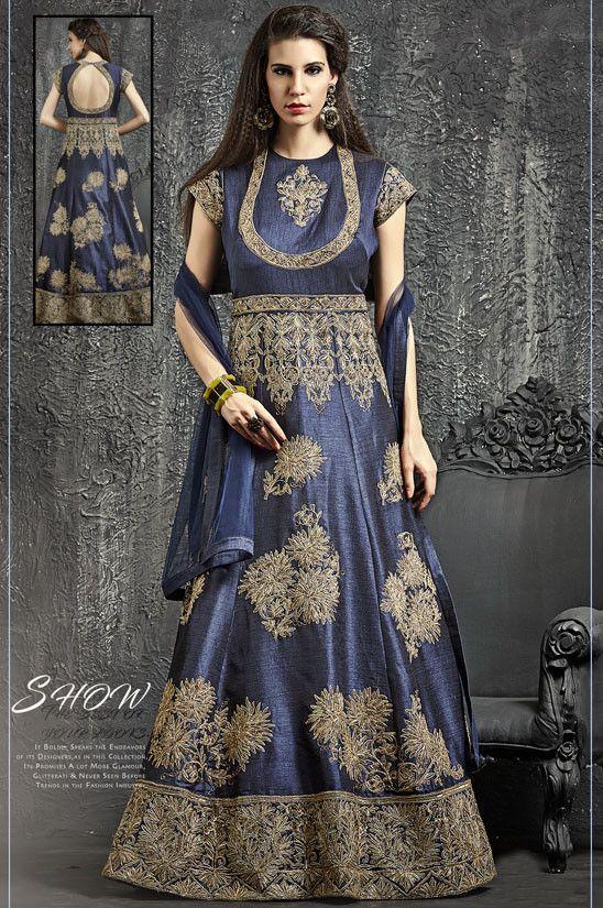Majestic Midnight Blue Designer Anarkali Suit