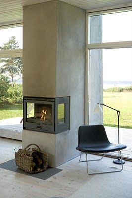 Good way to combine your fireplace with a lovely view