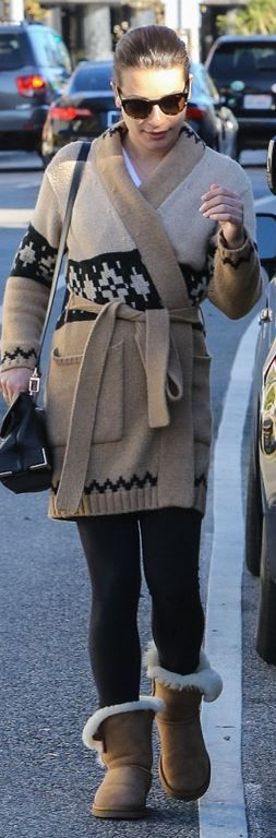 Who made Lea Michele's tan ankle boots and print cardigan sweater?
