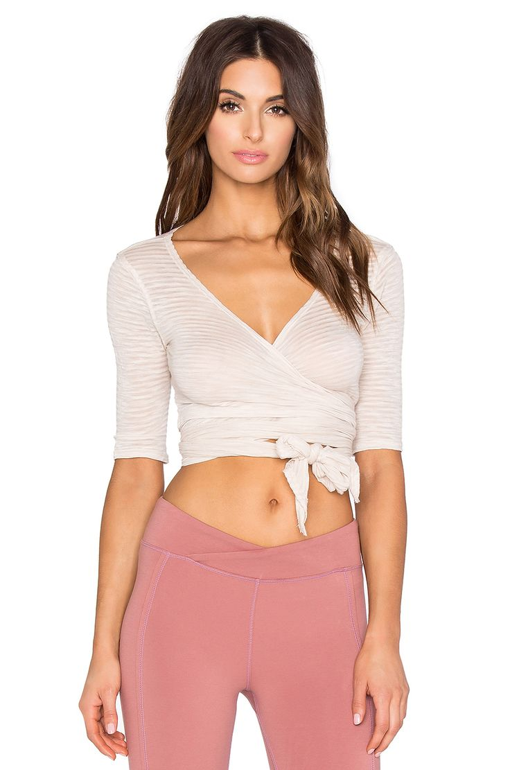 Free People Giselle Wrap Top in Stripe Pink