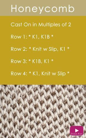 How to Knit the Honeycomb Stitch Easy Free Knitting Pattern with Studio Knit via @StudioKnit