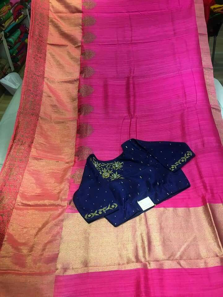 Jute silk sarees with semistiched blouses price @13450 To place order WhatsApp 7995736811
