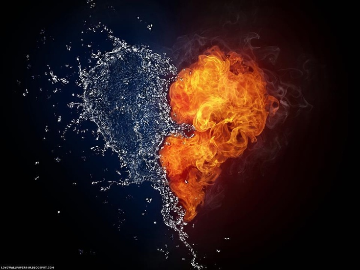 fire and ice, heart, love