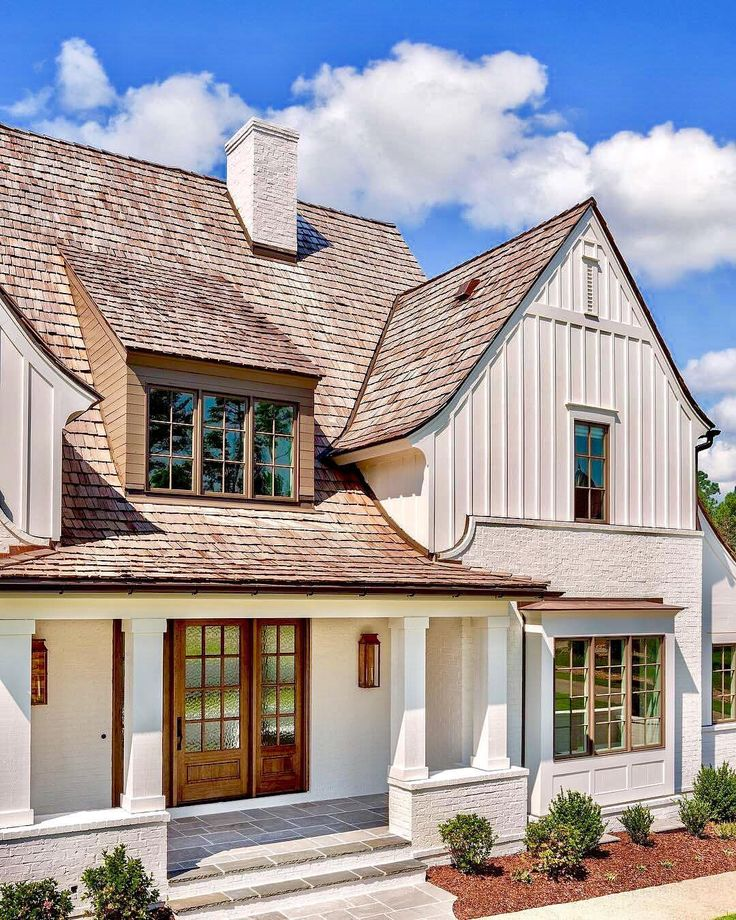 4,012 Likes, 187 Comments - Christian Daw (@christiandawdesign) White House, shingled rood, board and batten and brick exterior