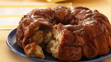 Grands!® Monkey Bread stuffed with cream cheese, rolled in cinnamon & sugar, with butterscotch. Yummo