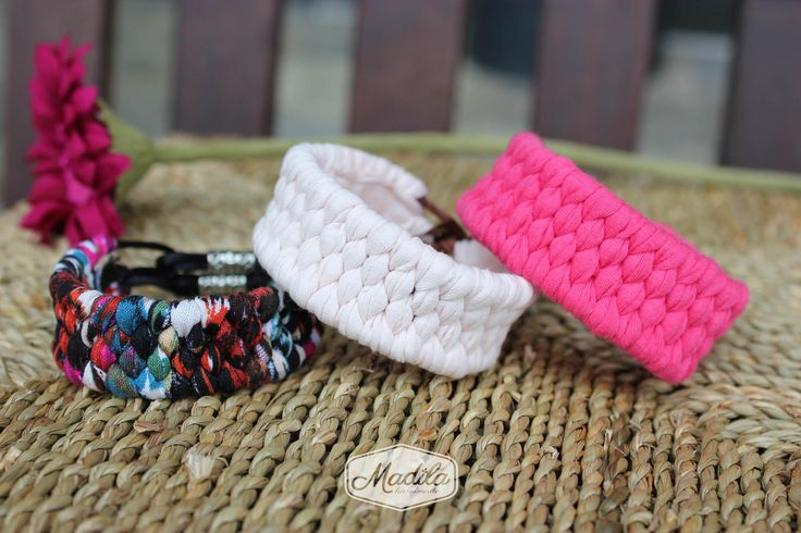 Several bracelets crocheted with tshirt yarn and beads # ...