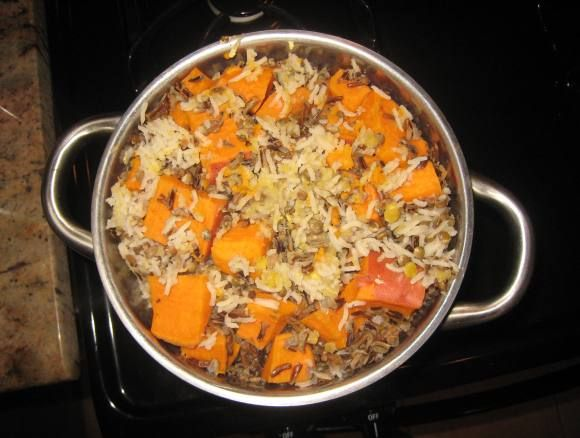 Crockpot dog food recipe - it's vegan, but I added 1 lb of ground beef to the 6 c water, 1 c rice, 1 c lentils, 3 sweet potatoes - cooked on high for 4-6 hours. Mushed it with a potato masher and added ~2 c cooked black beans, 2-3 T spirulina, & wheat grass powder. Dogs loved it frozen in a Kong! Next time I'll add a few apples and carrots to the crockpot.