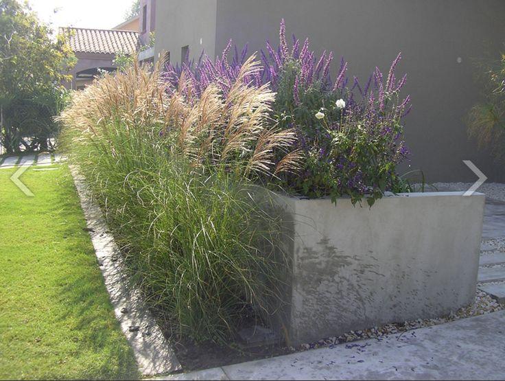 Cantero de cemento gramineas lavanda piedra partida for Canteros de jardin
