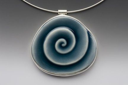 "Large Blue Swirl Necklace by Lynne Made Porcelain   2"" in length - $130"