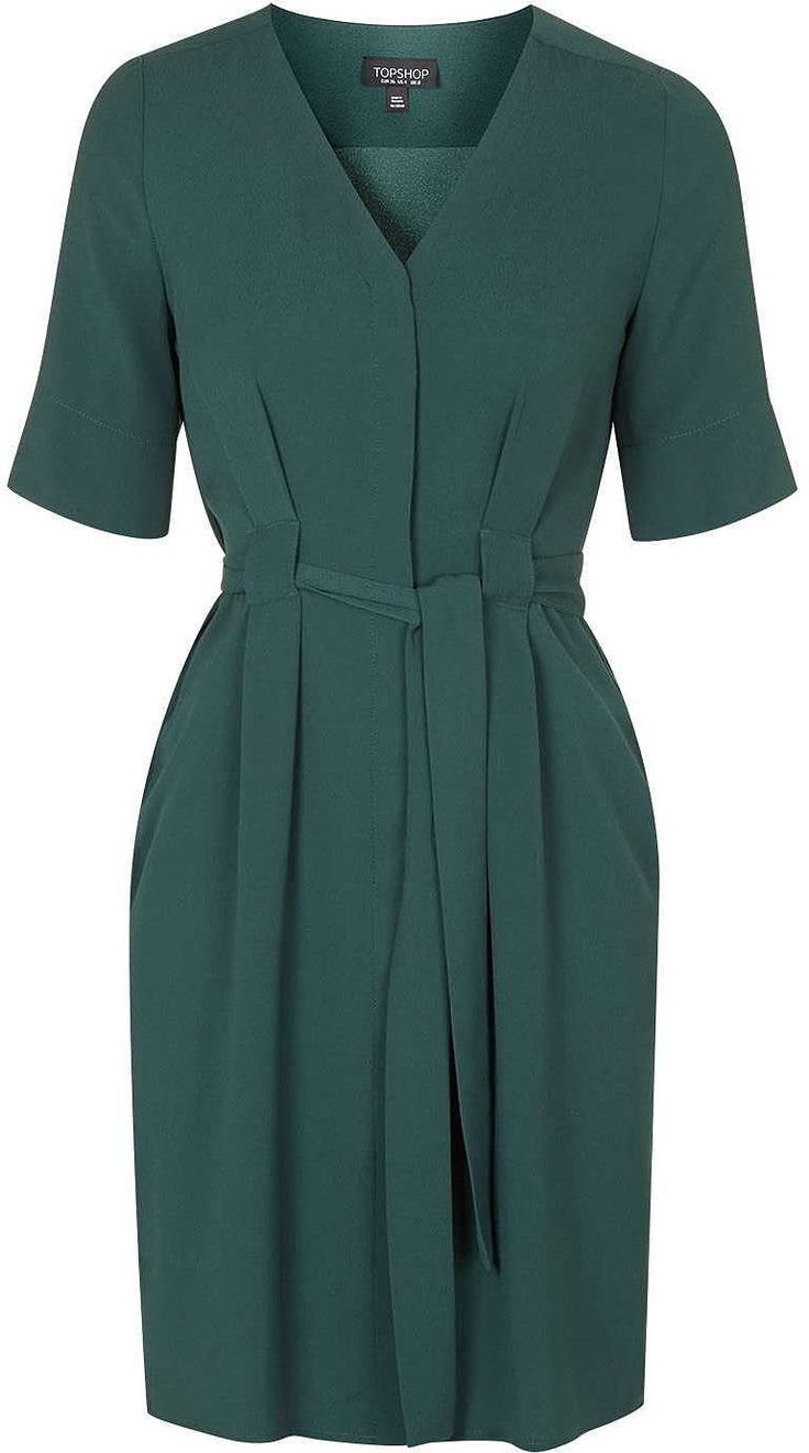 Womens bottle green belted button-down dress - from Topshop - £48 at ClothingByColour.com