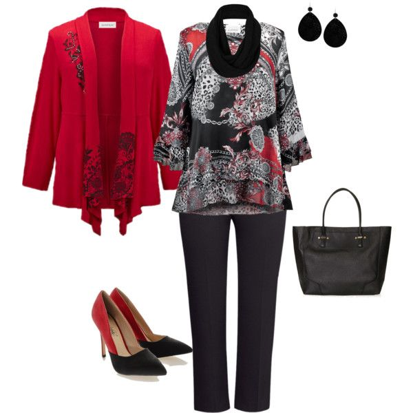 """Plus Size Red and Black"" by penny-martin on Polyvore"