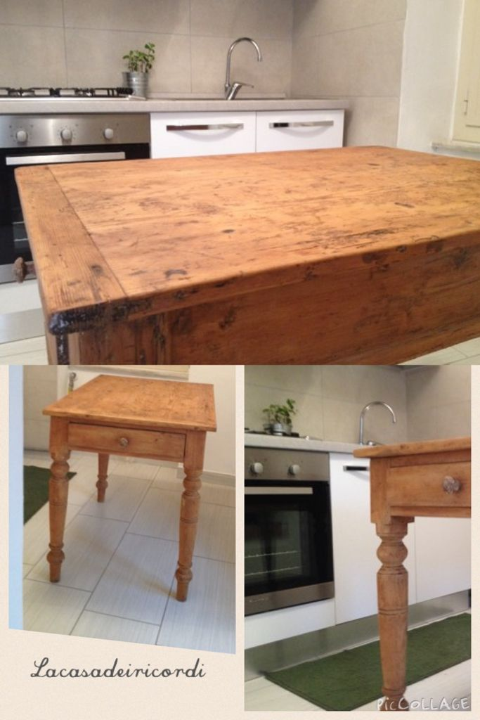 Antico tavolo country in legno in contrasto con una cucina bianca moderna, amo tutte quelle imperfezioni sul piano!!! - Old country wooden table contrasting with a modern white kitchen, I love all the imperfections of the top!