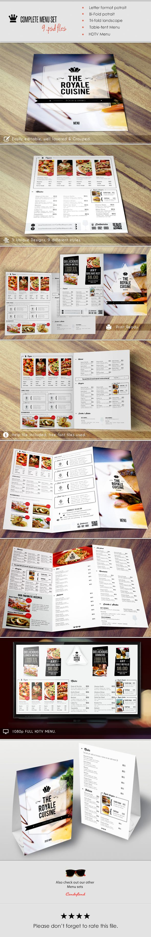 Here's the next version of Menu Pack, while creating this item we kept in mind that it must complete all requirements needed by the customers who will purchase the menu pack we added the following designs to the item. *Potrait Menu (US Letter size) *Bi-Fold Menu (17 by 12 Inches) *Tri-Fold Menu (US Letter Landscape) *Table Tent Menu (4 by 5.5 Inches) *HDTV Menu (1080p) The item includes 9 PSD files in total…