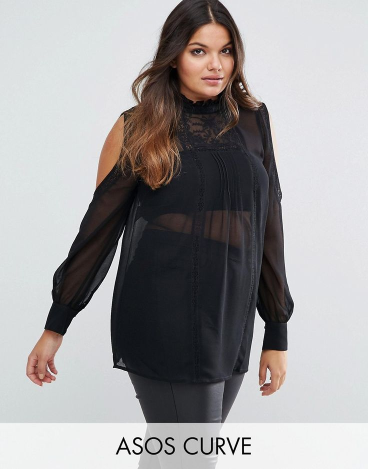 Buy it now. ASOS CURVE Cold Shoulder Lace Trim and Pintuck Blouse - Black. Plus-size top by ASOS CURVE, Sheer woven chiffon, High neckline, Cold-shoulder style, Embroidered panel, Button-keyhole back, Relaxed fit, Machine wash, 100% Polyester, Our model wears a UK 18/EU 46/US 14, Bandeau top not included. ABOUT ASOS CURVE Say goodbye to awkward-fitting plus-size fashion with our ASOS CURVE collection. Giving shout-outs to denim, occasionwear and jumpsuits, our London-based design team nail…