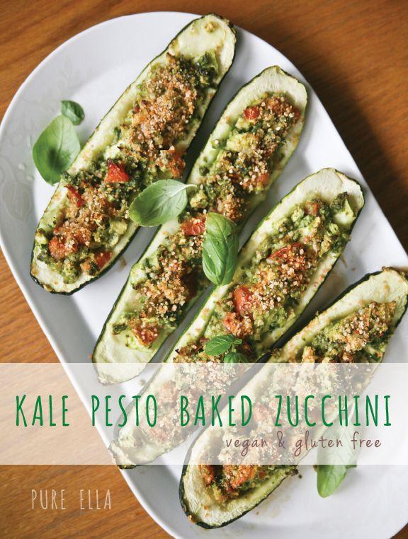 Kale Pesto Baked Zucchini (vegan & gluten free)