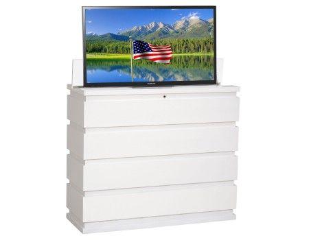 prism white tv lift cabinet