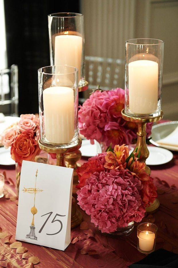 Beautiful Blooms Philip Gabriel Photography The Down Town Club Low Centerpiece Gold Candles Orange Pink Wedding ReceptionsWedding