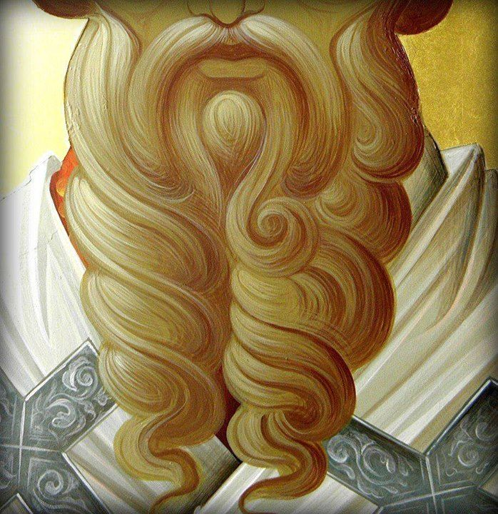 Icon technique image...hair, beard, and curls