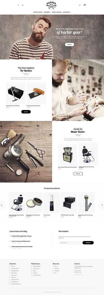 Beauty website inspirations at your coffee break? Browse for more Magento #templates! // Regular price: $179 // Sources available: .PSD, .XML, .PHTML, .CSS #Beauty #Magento #Barber
