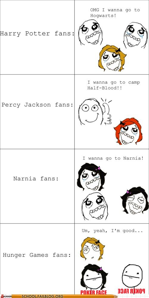 Harry Potter, The Hunger Games, Percy Jackson, Narnia meme ...