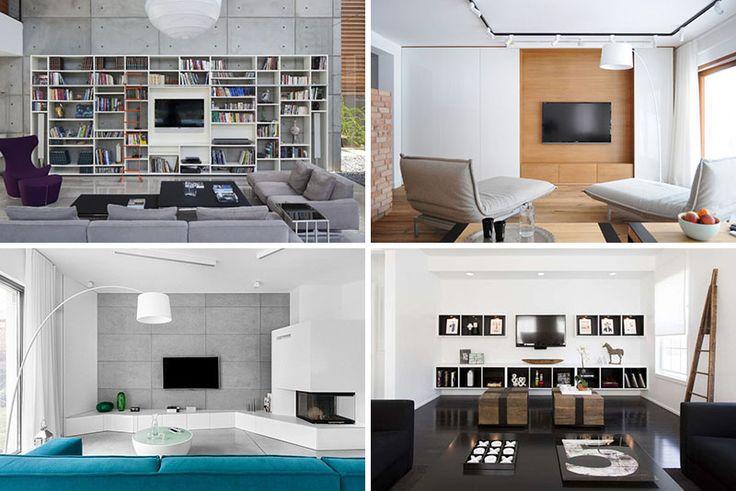 Grifflose Matt Weiß Lackierte Hängeschränke über Bett: 8 TV Wall Design Ideas For Your Living Room