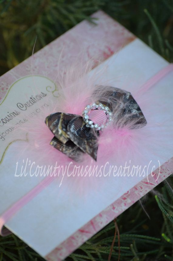 Mossy Oak BreakUp Camo Hair Bow Headband for Babies, Toddlers, Little Girls - Camo Bow with Jeweled Center Set on Pink Marabou Feathers - For Country Girls $5.95
