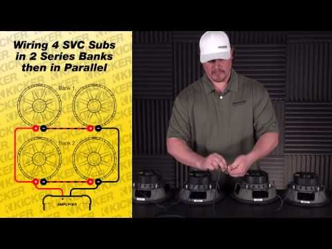 Subwoofer Wiring Four 4 ohm SVC Subs in Series / Parallel