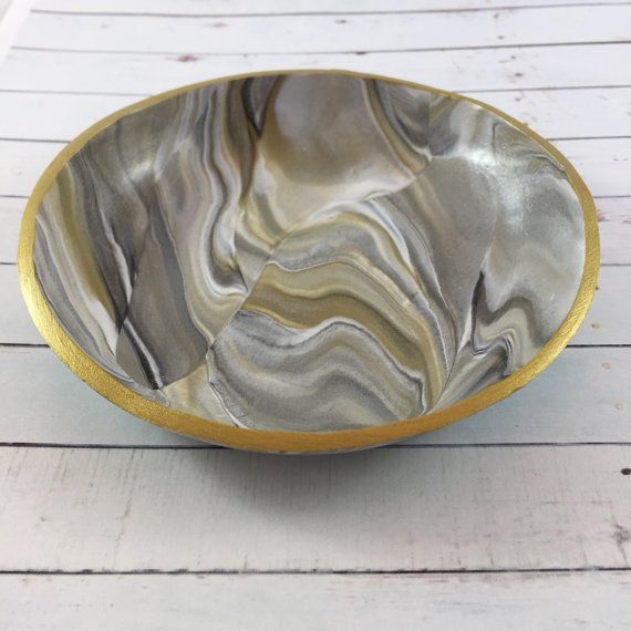 Clay Ring Dish with Gold and Silver Marble Swirls // Jewelry Storage // Gift Idea by MonicaRudyJewelry
