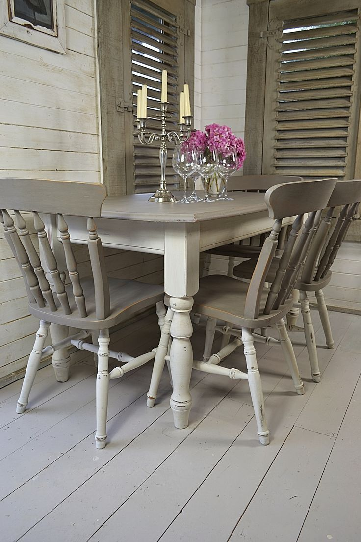 Dine in style with our stunning grey and white split dining set  Painted in  Annie Sloan s gorgeous French Linen and Old White  this set will have t. Dine in style with our stunning grey and white split dining set