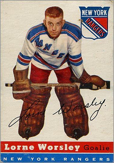 gump worsley hockey cards | 1954-55 Gump Worsley & Alex Delvecchio