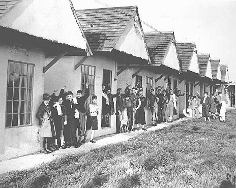 Jewish refugee children from Germany—part of a Children's Transport (Kindertransport)—at the holiday camp at Dovercourt Bay, near Harwich, shortly after their arrival in England. Dovercourt Bay, Great Britain, after December 2, 1938.    — Institute of Contemporary History and Wiener Library Limited