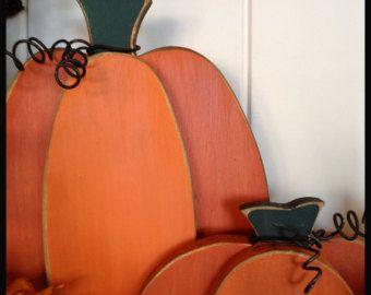 Thanksgiving Pumpkins, Rustic Wood Pumpkin, Wooden Pumpkin, Freestanding set of 2 Halloween Decor
