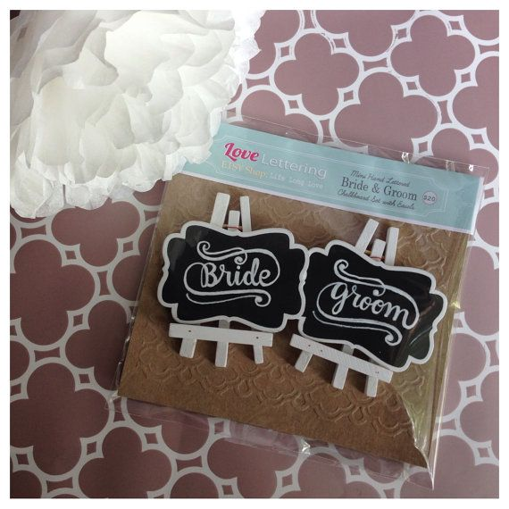 Bride and Groom Table Place Cards  Hand Lettered by lifelonglove, $20.00