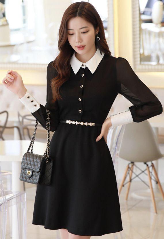 StyleOnme_Chiffon Sleeve Detail Collared Dress #black #dress #collared #feminine #koreanfashion #kstyle #kfashion #springtrend #dailylook