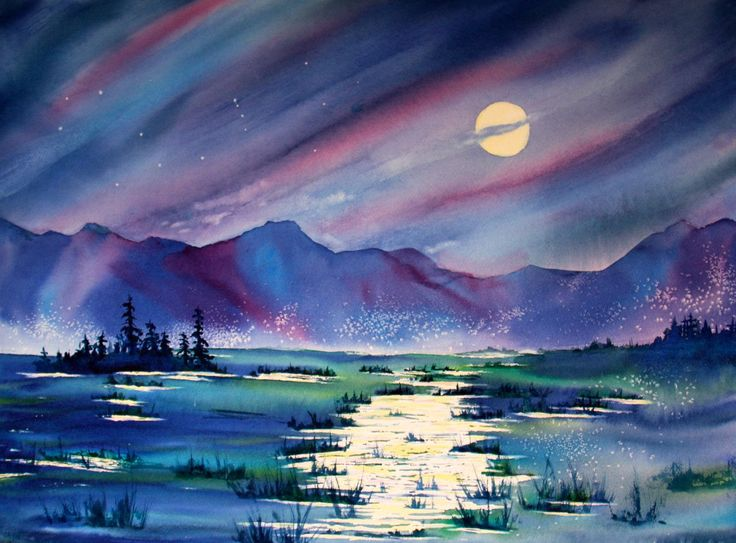 "Moonlight Magic - original watercolor on 300 lbs. cold-pressed watercolor paper. 22"" x 30"" $1995.00"