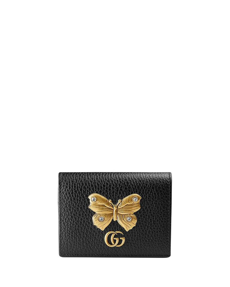 Gucci Linea Farfalla Leather Card Case with Butterfly