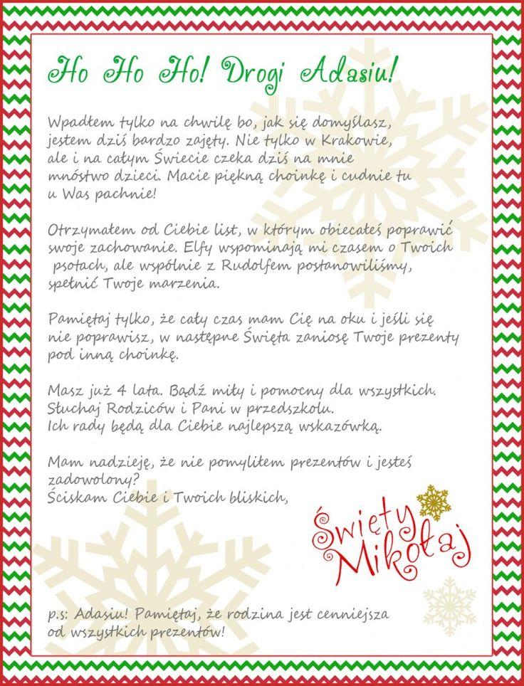 Wzór Listu od Świętego Mikołaja, prezent dla dzieci - spersonalizowany! - partymika