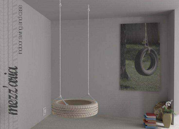 """Formabilio - """"MEZZ'ARIA"""" è un elemento d'arredo, una seduta da interni (usufruibile anche come contenitore/espositore) che riproduce quella che una volta era l'altalena, quell'altalena semplicemente formata da un copertone e una corda. L'elemento principale è quindi costituito da una forma circolare in legno sagomata appunto come un pneumatico (diametro 60 altezza 15) dotata sul lato inferiore di fondo di chiusura e sulla spalla superiore di quattro ganci ad anelli per fissare la corde di…"""