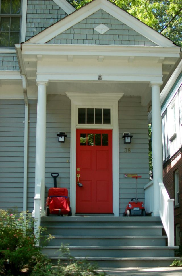 Seafoam Green House Exterior With Red Door Google Search Green House Exterior House Exterior Green Exterior House Colors