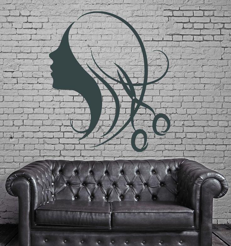 Decor for Beauty Salon Wall Sticker Vinyl Decal Beautiful Sexy Girl Hair (n292)