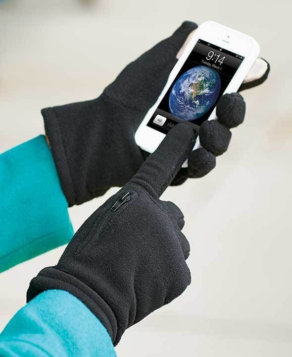 Fleece Text Gloves with Zippered Pockets For Outdoors For Women & Men #EverydayGloves