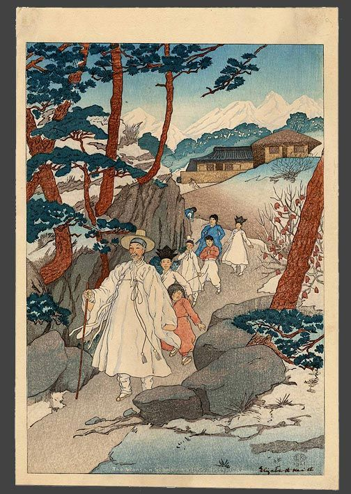 """""""A Wonsan scholar and his disciples"""", Elizabeth Keith, 1921"""