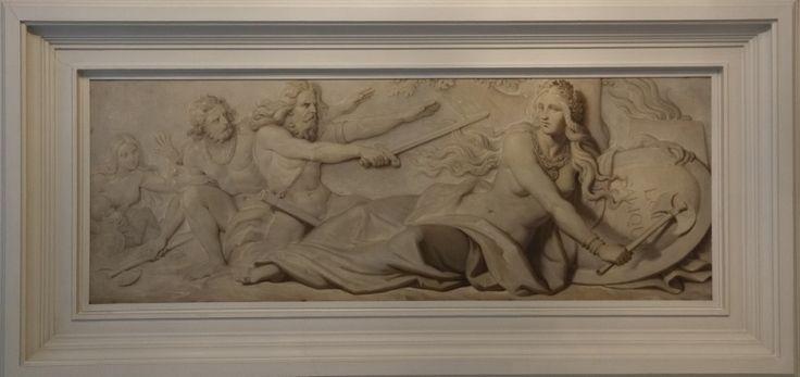 Salon Pujol - un des quatre caissons représentant un groupe de Francs prêtant serment devant l'allégorie de la France (Loi salique)
