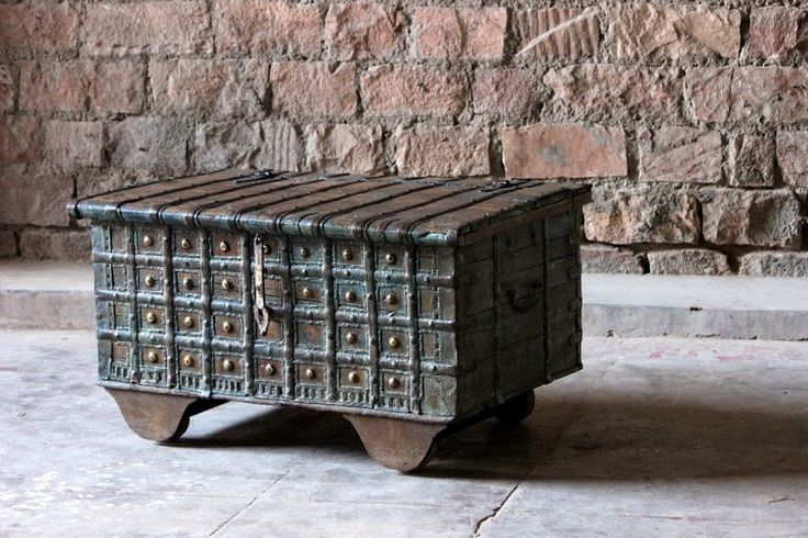 A 'one of a kind' vintage wooden trunk with original intricate steel work, this wooden box/trunk certainly catches ones eye.